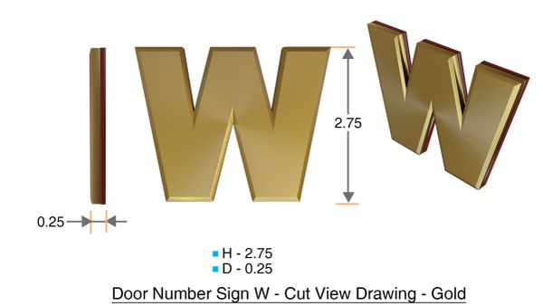 z- APARTMENT, DOOR AND MAILBOX LETTER W SIGN - LETTER SIGN W- GOLD (HIGH QUALITY PLASTIC DOOR SIGNS 0.25 THICK)