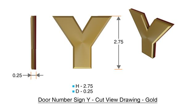 z- APARTMENT, DOOR AND MAILBOX LETTER Y SIGN - LETTER SIGN Y- GOLD (HIGH QUALITY PLASTIC DOOR SIGNS 0.25 THICK)