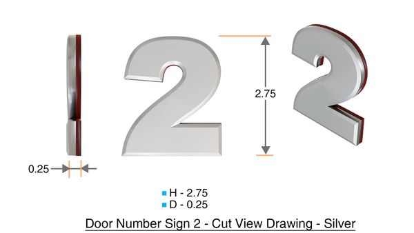 z- APARTMENT, DOOR AND MAILBOX NUMBER TWO SIGN - 2 SIGN- SILVER (HIGH QUALITY PLASTIC DOOR SIGNS 0.25 THICK)