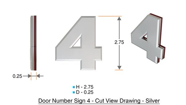 z- APARTMENT, DOOR AND MAILBOX NUMBER FOUR SIGN - 4 SIGN- SILVER (HIGH QUALITY PLASTIC DOOR SIGNS 0.25 THICK)
