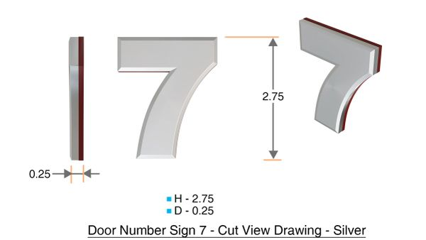 z- APARTMENT, DOOR AND MAILBOX NUMBER SEVEN SIGN - 7 SIGN- SILVER (HIGH QUALITY PLASTIC DOOR SIGNS 0.25 THICK)