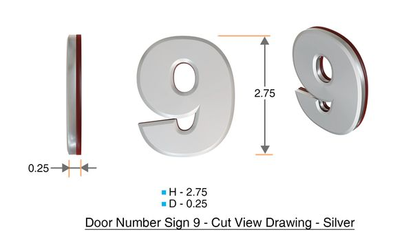 z- APARTMENT, DOOR AND MAILBOX NUMBER ZERO SIGN - 0 SIGN- SILVER (HIGH QUALITY PLASTIC DOOR SIGNS 0.25 THICK)