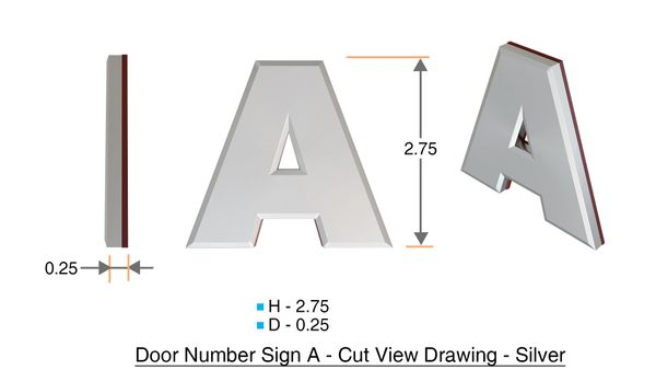 z- APARTMENT, DOOR AND MAILBOX LETTER A SIGN - LETTER SIGN A- SILVER (HIGH QUALITY PLASTIC DOOR SIGNS 0.25 THICK)