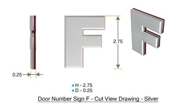 z- APARTMENT, DOOR AND MAILBOX LETTER F SIGN - LETTER SIGN F- SILVER (HIGH QUALITY PLASTIC DOOR SIGNS 0.25 THICK)
