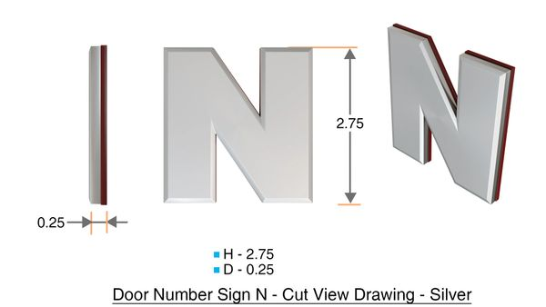 z- APARTMENT, DOOR AND MAILBOX LETTER N SIGN - LETTER SIGN N- SILVER (HIGH QUALITY PLASTIC DOOR SIGNS 0.25 THICK)
