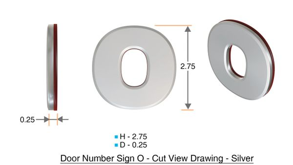 z- APARTMENT, DOOR AND MAILBOX LETTER O SIGN - LETTER SIGN O- SILVER (HIGH QUALITY PLASTIC DOOR SIGNS 0.25 THICK)