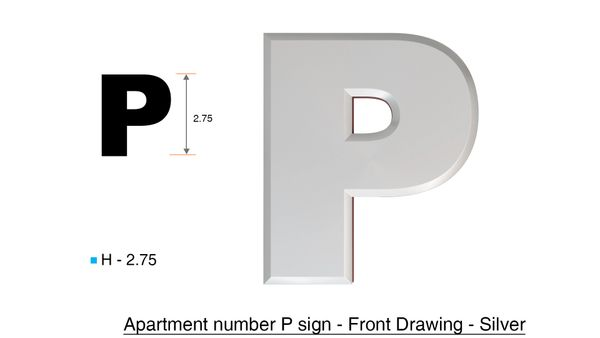 z- APARTMENT, DOOR AND MAILBOX LETTER P SIGN - LETTER SIGN P- SILVER (HIGH QUALITY PLASTIC DOOR SIGNS 0.25 THICK)
