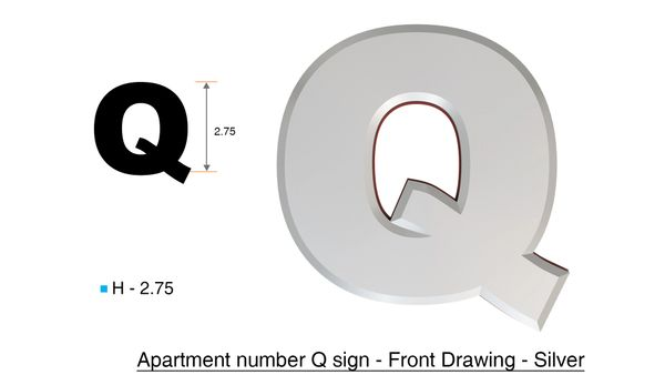 z- APARTMENT, DOOR AND MAILBOX LETTER Q SIGN - LETTER SIGN Q- SILVER (HIGH QUALITY PLASTIC DOOR SIGNS 0.25 THICK)