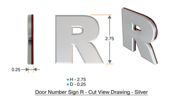 z- APARTMENT, DOOR AND MAILBOX LETTER R SIGN - LETTER SIGN R- SILVER (HIGH QUALITY PLASTIC DOOR SIGNS 0.25 THICK)