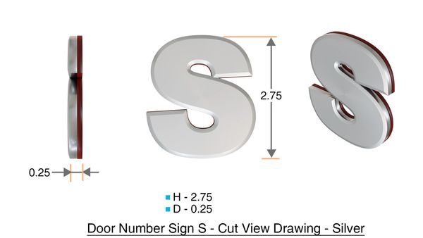 z- APARTMENT, DOOR AND MAILBOX LETTER S SIGN - LETTER SIGN S- SILVER (HIGH QUALITY PLASTIC DOOR SIGNS 0.25 THICK)