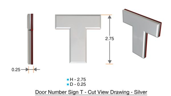 z- APARTMENT, DOOR AND MAILBOX LETTER T SIGN - LETTER SIGN T- SILVER (HIGH QUALITY PLASTIC DOOR SIGNS 0.25 THICK)