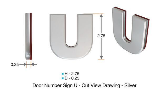 z- APARTMENT, DOOR AND MAILBOX LETTER U SIGN - LETTER SIGN U- SILVER (HIGH QUALITY PLASTIC DOOR SIGNS 0.25 THICK)