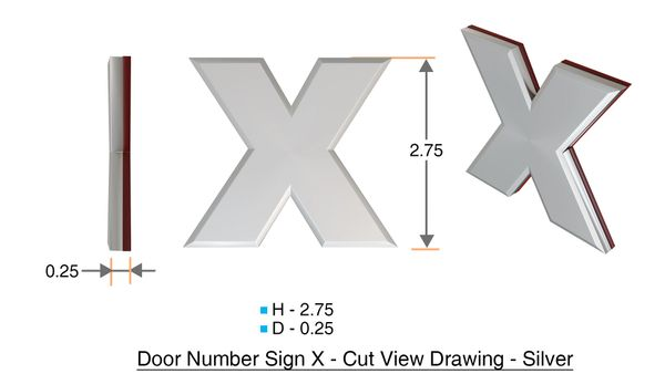 z- APARTMENT, DOOR AND MAILBOX LETTER X SIGN - LETTER SIGN X- SILVER (HIGH QUALITY PLASTIC DOOR SIGNS 0.25 THICK)