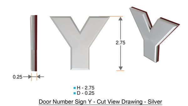 z- APARTMENT, DOOR AND MAILBOX LETTER Y SIGN - LETTER SIGN Y- SILVER (HIGH QUALITY PLASTIC DOOR SIGNS 0.25 THICK)
