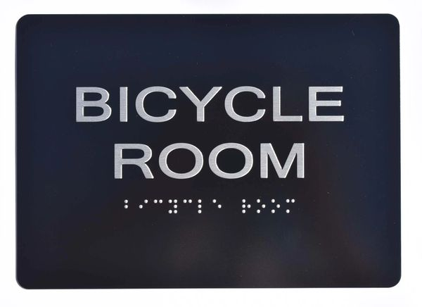 BICYCLE ROOM SIGN- BLACK- BRAILLE (ALUMINUM SIGNS 5X7)- The Sensation Line