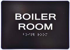 BOILER ROOM SIGN- BLACK- BRAILLE (ALUMINUM SIGNS 5X7)- The Sensation Line