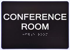 CONFERENCE ROOM Sign- BLACK- BRAILLE (ALUMINUM SIGNS 5X7)- The Sensation Line