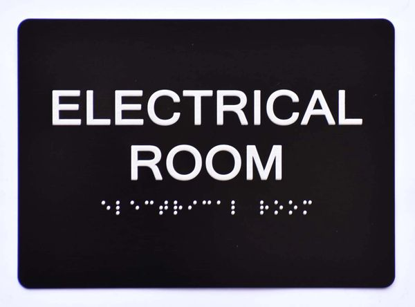 ELECTRICAL ROOM Sign- BLACK- BRAILLE (ALUMINUM SIGNS 5X7)- The Sensation Line