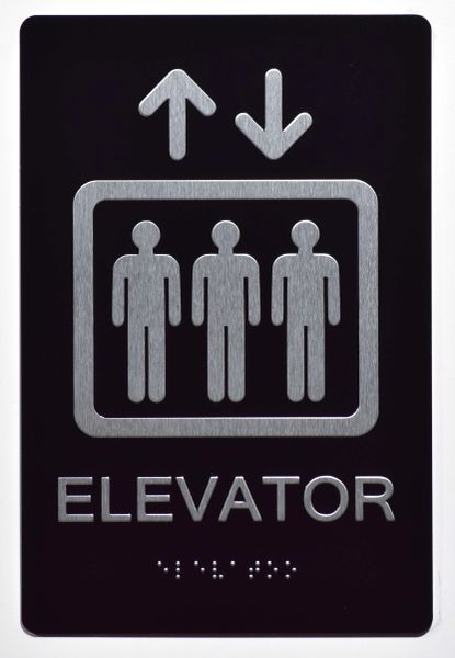 Elevator SIGN- BRAILLE (ALUMINUM SIGNS 9X6)- The Sensation Line