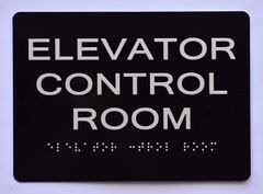 ELEVATOR CONTROL ROOM SIGN- BLACK- BRAILLE (ALUMINUM SIGNS 5X7)- The Sensation Line