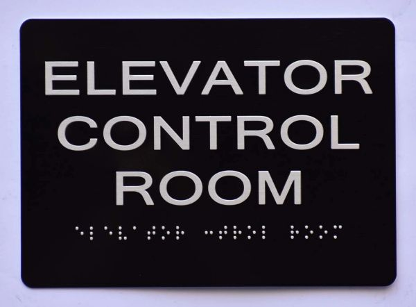 ELEVATOR CONTROL ROOM SIGN- BLACK- BRAILLE (ALUMINUM SIGNS 5X7)- The Sensation Line
