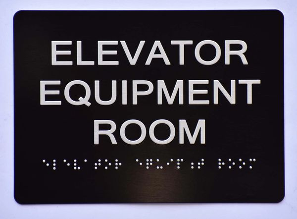 Elevator Equipment Room SIGN- BLACK- BRAILLE (ALUMINUM SIGNS 5X7)- The Sensation Line