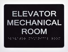 ELEVATOR MECHANICAL ROOM Sign- BLACK- BRAILLE (ALUMINUM SIGNS 5X7)- The Sensation Line