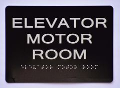 ELEVATOR MOTOR ROOM SIGN- BLACK- BRAILLE (ALUMINUM SIGNS 5X7)- The Sensation Line