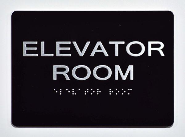 ELEVATOR ROOM SIGN- BLACK- BRAILLE (ALUMINUM SIGNS 5X7)- The Sensation Line