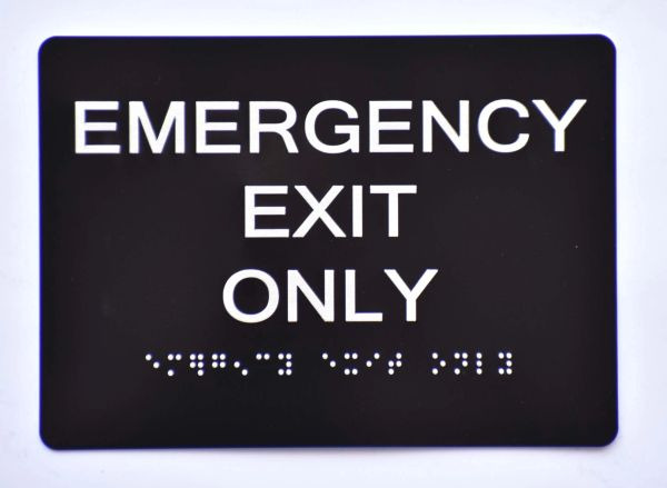 Emergency EXIT ONLY SIGN- BLACK-BRAILLE (ALUMINUM SIGNS 5X7)- The Sensation Line