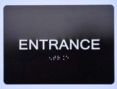 ENTRANCE SIGN- BLACK- BRAILLE (ALUMINUM SIGNS 5X7)- The Sensation Line