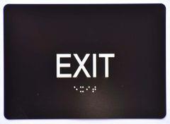 EXIT SIGN- BLACK- BRAILLE (ALUMINUM SIGNS 5X7)- The Sensation Line