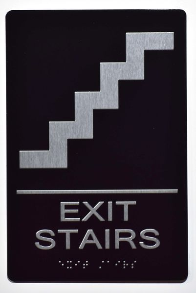 EXIT STAIRS SIGN- BLACK- BRAILLE (ALUMINUM SIGNS 9X6)- The Sensation Line