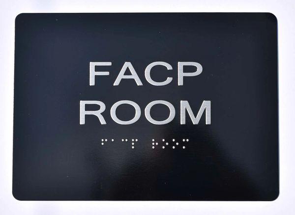 FACP Room SIGN- BLACK-- BRAILLE (ALUMINUM SIGNS 5X7)- The Sensation Line