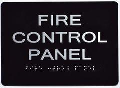 FIRE CONTROL PANEL Sign- BLACK- BRAILLE (ALUMINUM SIGNS 5X7)- The Sensation Line