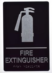 FIRE EXTINGUISHER SIGN- BLACK- BRAILLE (ALUMINUM SIGNS 9X6)- The Sensation Line