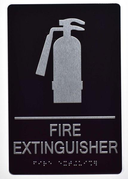 FIRE EXTINGUISHER SIGN- BLACK- BRAILLE (ALUMINUM SIGNS 9X6)- The Sensation Line