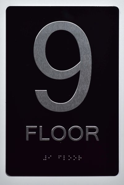 9th FLOOR SIGN- BLACK- BRAILLE (ALUMINUM SIGNS 9X6)- The Sensation Line
