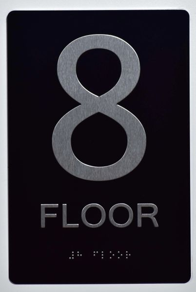 8th FLOOR SIGN- BLACK- BRAILLE (ALUMINUM SIGNS 9X6)- The Sensation Line