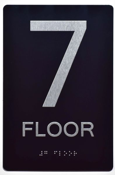 7th FLOOR SIGN- BLACK- BRAILLE (ALUMINUM SIGNS 9X6)- The Sensation Line