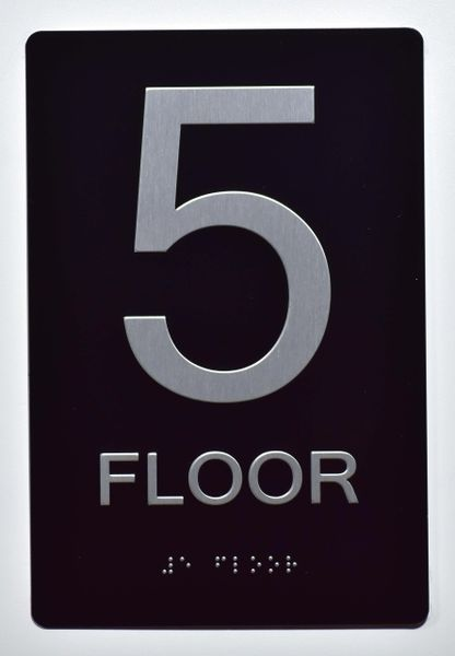5th FLOOR SIGN- BLACK- BRAILLE (ALUMINUM SIGNS 9X6)- The Sensation Line