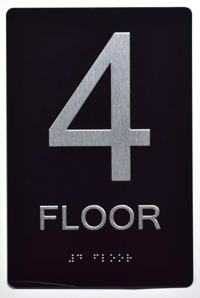 4th FLOOR SIGN- BLACK- BRAILLE (ALUMINUM SIGNS 9X6)- The Sensation Line