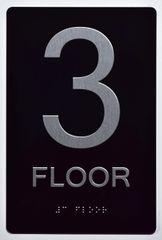 3rd FLOOR SIGN- BLACK- BRAILLE (ALUMINUM SIGNS 9X6)- The Sensation Line