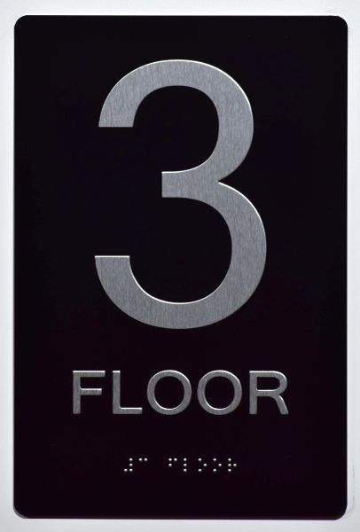 3rd FLOOR SIGN- BLACK- BRAILLE (ALUMINUM SIGNS 9X6)- The Sensation Line