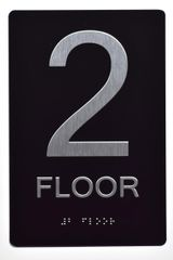 2ND FLOOR SIGN- BLACK- BRAILLE (ALUMINUM SIGNS 9X6)- The Sensation Line