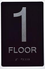 1ST FLOOR SIGN- BLACK- BRAILLE (ALUMINUM SIGNS 9X6)- The Sensation Line