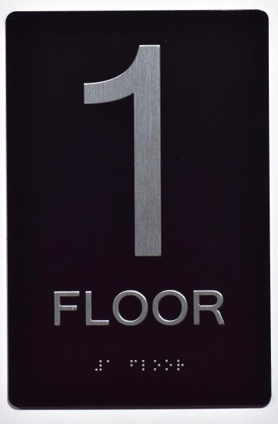1ST FLOOR SIGN- BLACK- BRAILLE (ALUMINUM SIGNS 9X6)- The Sensation Line