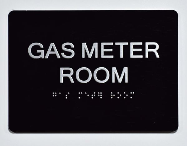 GAS METER ROOM SIGN-BLACK- BRAILLE (ALUMINUM SIGNS 5X7)- The Sensation Line