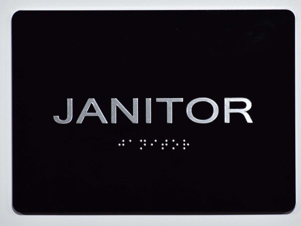 JANITOR Sign- BLACK- BRAILLE (ALUMINUM SIGNS 5X7)- The Sensation Line