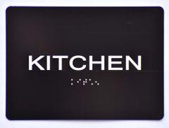 KITCHEN Sign- BLACK- BRAILLE (ALUMINUM SIGNS 5X7)- The Sensation Line